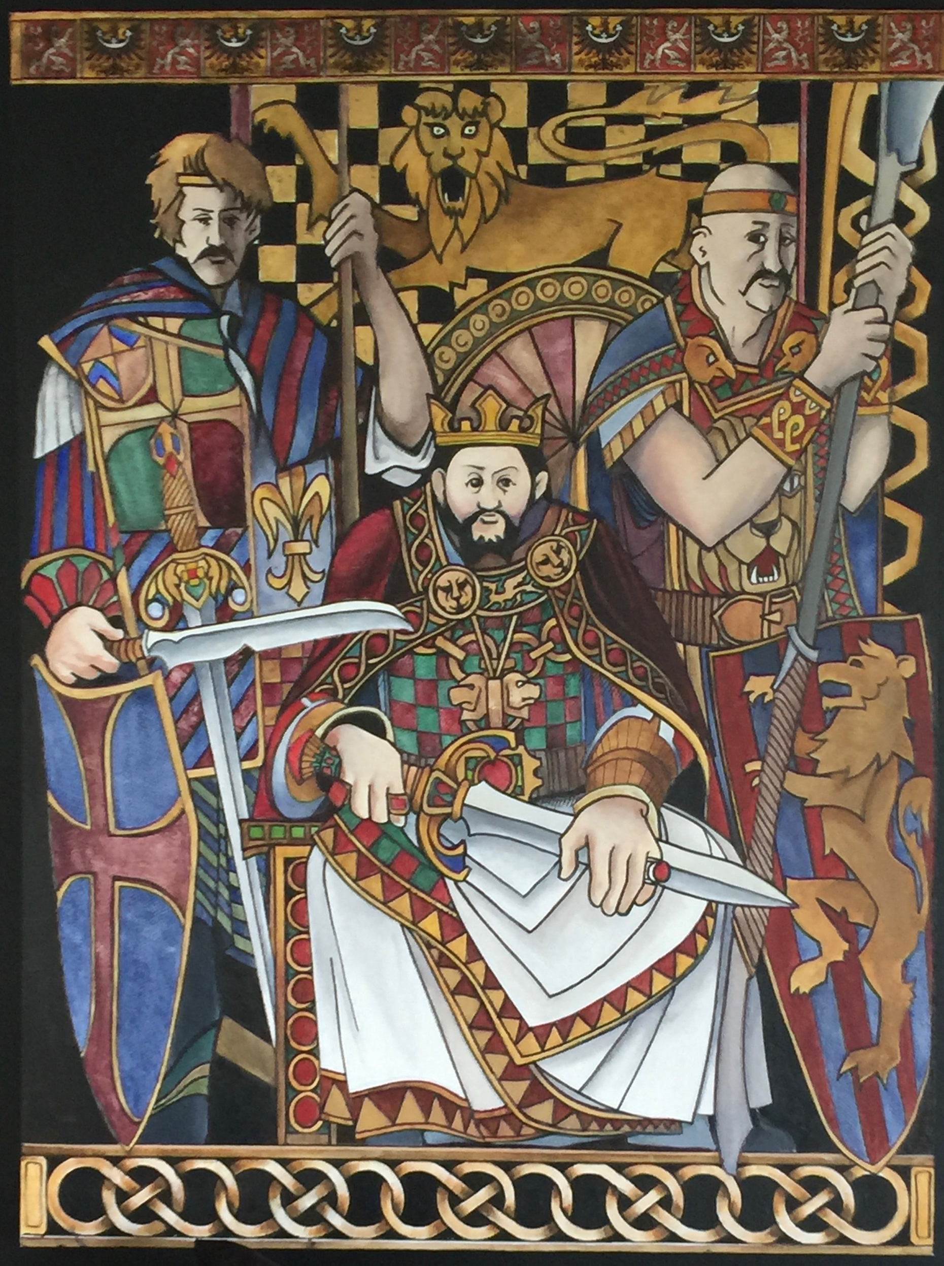 A Heraldic style painting depicting King Arthur and two Knights of the Round Table.